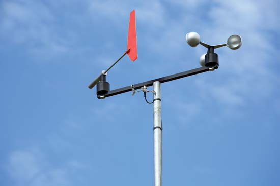 A cup anemometer and windvane. Image by Noaa.gov.