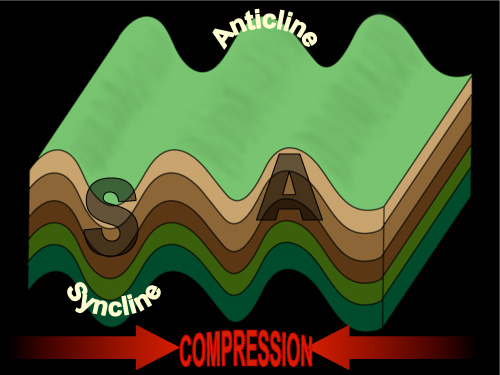A diagram showing the formation of anticlines and synclines.