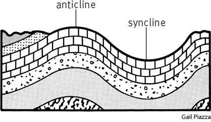 A diagram showing a syncline and an anticline. Image via Pinstopin