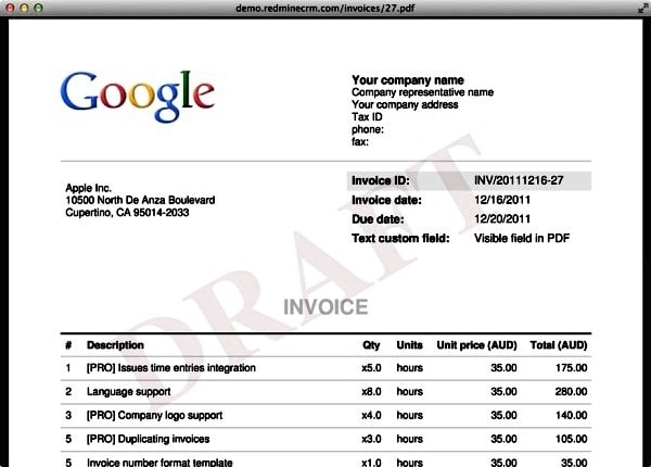 An example of an invoice. Image credit redminecrm.com